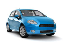 Compact new blue car Royalty Free Stock Photos
