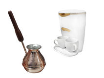 Compact percolator and coffeepot Royalty Free Stock Image