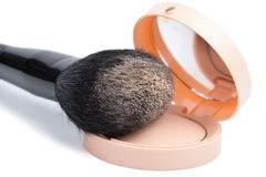 Compact powder and black brush isolated Royalty Free Stock Image
