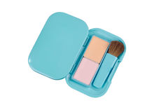 Compact powder blush box with brush Royalty Free Stock Photography