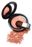 Compact powder blush box with mirror and brush Stock Photo