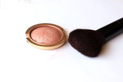 Compact powder and brush Royalty Free Stock Images