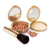 Compact powder and cosmetic blush Stock Photography