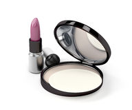 Compact powder and lipstick Royalty Free Stock Images
