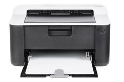 Compact printer. Compact laser home printer  on white background Royalty Free Stock Photos