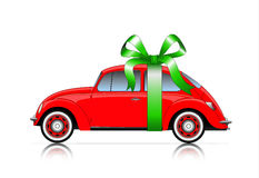 Compact red car with ribbon Royalty Free Stock Photo