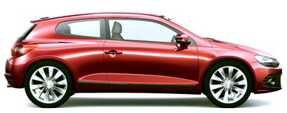 Compact red car - side view Stock Photography