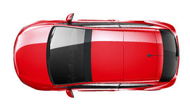 Compact red car - top angle Royalty Free Stock Images