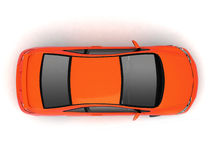 Compact red car top view Royalty Free Stock Photo