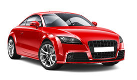 Compact red coupe car. On white background Royalty Free Stock Photography
