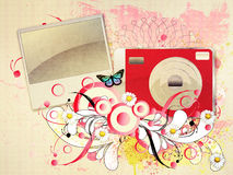 Red compact camera with flourish Stock Image