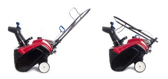 Compact Red Gas Snowblower. Isolated on White Stock Photos