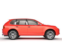 Compact red SUV side view stock images
