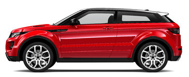 Compact red suv. On a white background Royalty Free Stock Images