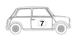 Compact Saloon Outline Drawing Stock Photos