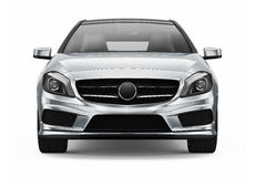 Compact silver car - front view Royalty Free Stock Photo