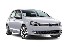 Compact silver hatchback car. Compact hatchback car  on white Stock Photos