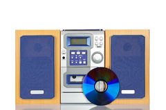 Compact sound system stereo. With CD, tape and tuner reflected on white background stock photo