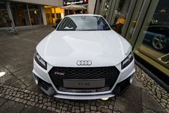 Compact sports coupe Audi TT RS. BERLIN - DECEMBER 21, 2017: Showroom. Compact sports coupe Audi TT RS. Since 2016 Stock Photos