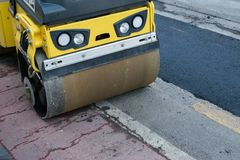 Compact Steamroller Flatten Out Asphalt Construction Roadwork stock image