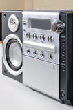 Compact stereo system. Cd and cassette player with radio on white background stock photo