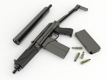 Compact submachine-gun 9a91 with silenced Royalty Free Stock Photo