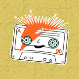 Compact tape cassettes. Vector illustration compact tape cassettes. Cartoon character. Pop muisic 80s. Web graphics, banners, advertisements, stickers, labels Stock Images
