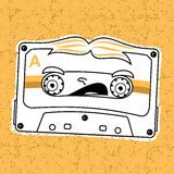 Compact tape cassettes. Vector illustration compact tape cassettes. Cartoon character. Pop muisic 80s. Web graphics, banners, advertisements, stickers, labels Royalty Free Stock Photography