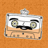 Compact tape cassettes. Vector illustration compact tape cassettes. Cartoon character. Pop muisic 80s. Web graphics, banners, advertisements, stickers, labels Royalty Free Stock Images