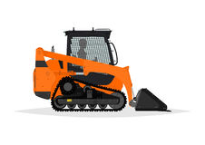 Compact track loader. Side view. Flat vector Stock Image
