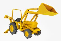 Compact tractor, front loader and backhoe, isolated on white background. Computer generated 3D illustration with a compact tractor, front loader and backhoe Royalty Free Stock Image