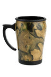 Compact travel mugs with print khaki Stock Images