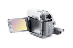 Compact video camera with viewfinder over white. Compact video camera with viewfinder isolated over white background Stock Image
