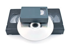 Compact videocassette, VHS and DVD Stock Photos