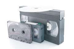 Compact videocassette, VHS and DVD Stock Image
