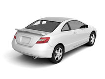 Compact white car back view Stock Photo