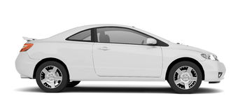 Compact White Car Side View Royalty Free Stock Image