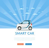 Compact white smart car Stock Images