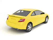 Compact yellow car back view Royalty Free Stock Photo