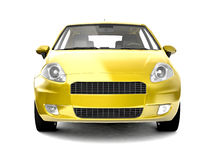 Compact yellow car front view Stock Images