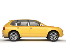 Compact yellow SUV side view Royalty Free Stock Photography