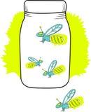 Compacte fluorescente glimworm in een kruik Stock Afbeeldingen