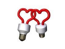 Compacte fluorescente lampen in liefde Royalty-vrije Stock Foto's