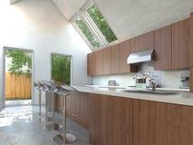 Compacte keuken met een barteller en krukken stock illustratie