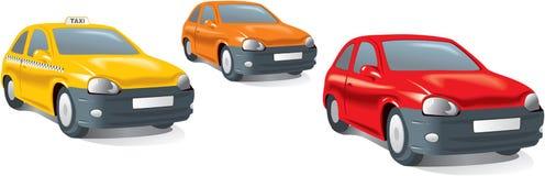 Compacte stadsauto's, taxi. Vector Stock Foto