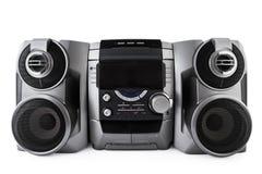 Compacte stereodiesysteemcd en cassettespeler met clipp wordt geïsoleerd Royalty-vrije Stock Afbeelding
