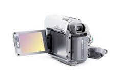 Compacte videocamera met beeldzoeker over wit Stock Afbeelding