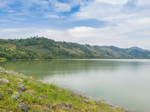 Compacted concrete dam in Thailand.  Royalty Free Stock Photos