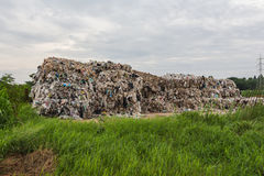 Compacted recyclable plastic. At a recycling plant Stock Photo