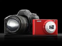Compacto y cámara de SLR Foto de archivo